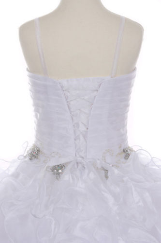 Girl First Communion Pageant Wedding Dress Bolero White 3 4 5 6 7 8 10 12 14 16