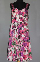 JAX Pink Green Black Floral Sleeveless Padded Top Dress NWT Wms 12 MSRP $100 - $48.99