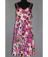 JAX Pink Green Black Floral Sleeveless Padded Top Dress NWT Wms 12 MSRP ... - $48.99