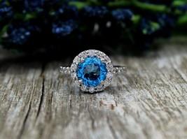 Blue,White Diamond Round Cut Halo Design Wedding Gift Ring Solid 10k White Gold  - $289.99