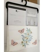"Embroidered Kitchen Curtains Set:2 Tiers & Valance 56x15"" GARDEN BUTTERF... - $21.77"