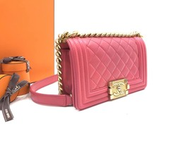 AUTHENTIC CHANEL PINK QUILTED LAMBSKIN SMALL BOY FLAP BAG GHW WITH RECEIPT image 2