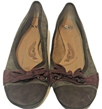Sofft Womens Ballet Flats Brown and Red Suede Bow Size 7W - $29.43