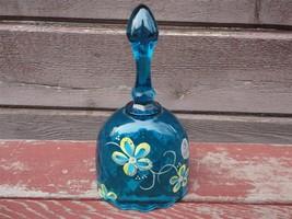 Fenton Glass Bell Blue Handpainted Daisy Flowers Artist Signed W Sticker - $24.75