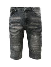 LR Scoop Men's Distressed Denim Fade Wash Slim Fit Moto Skinny Jean Shorts image 8