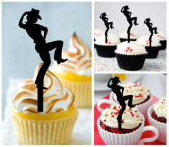 Wedding,Birthday Cupcake topper,silhouette Cowgirl and Cowboy Dancing : 10 pcs - $10.00