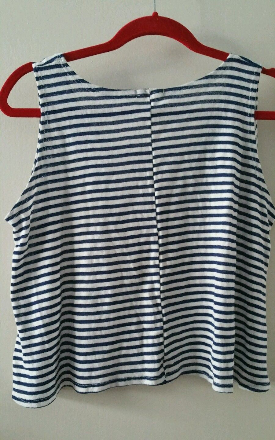 Tank Top Sailor Blue Stripes Red Anchor Cotton Size M NWOT