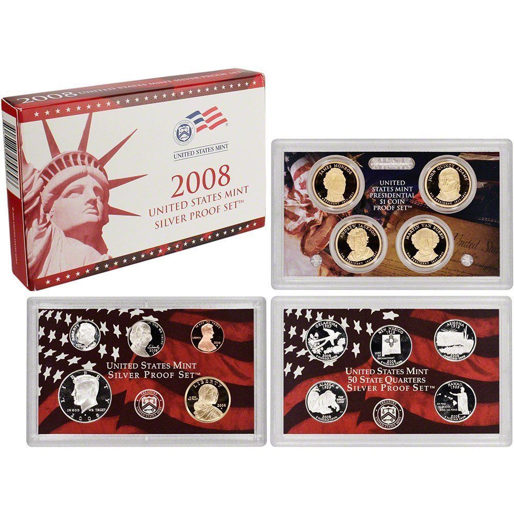2008-S 90% Silver Proof Set United States Mint Original Government Packaging Box