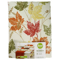 Fall Thanksgiving Autumn Maple Leaves Reversible Table Runner Set (3) image 2