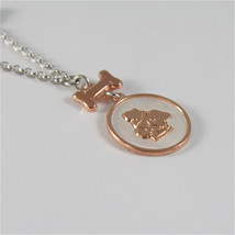 925 RHODIUM SILVER NECKLACE WITH DOG PUPPY & MOTHER OF PEARL MEDAL MADE IN ITALY image 2