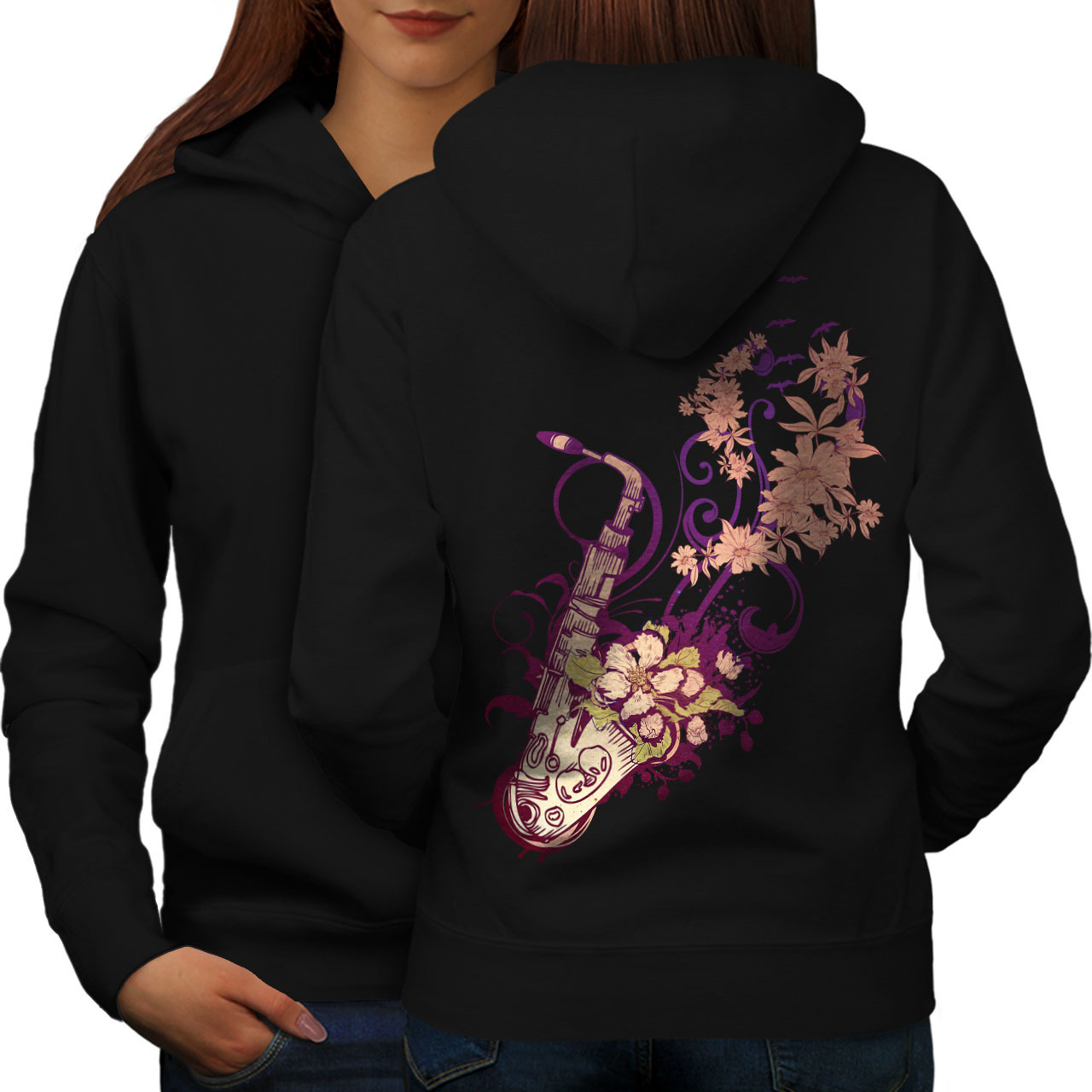 Primary image for Saxophone Jazzy Tune Sweatshirt Hoody Instrument Women Hoodie Back