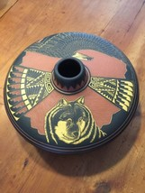 NAVAJO INCISED OR ETCHED GORGEOUS WIDE VASE EAGLE TEPEE & MORE  SIGNED - $154.13