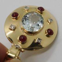 18K YELLOW GOLD NECKLACE BIG OVAL AQUAMARINE RUBY DIAMOND PENDANT SQUARE CHAIN image 7