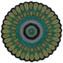 3' Round Contemporary Modern Plush Handmade Wool Blue Green Area Rug - €87,25 EUR