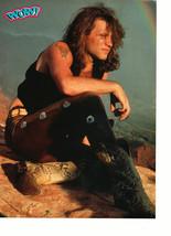 Jon Bon Jovi Scott Weinger teen magazine pinup clipping sitting on a rock