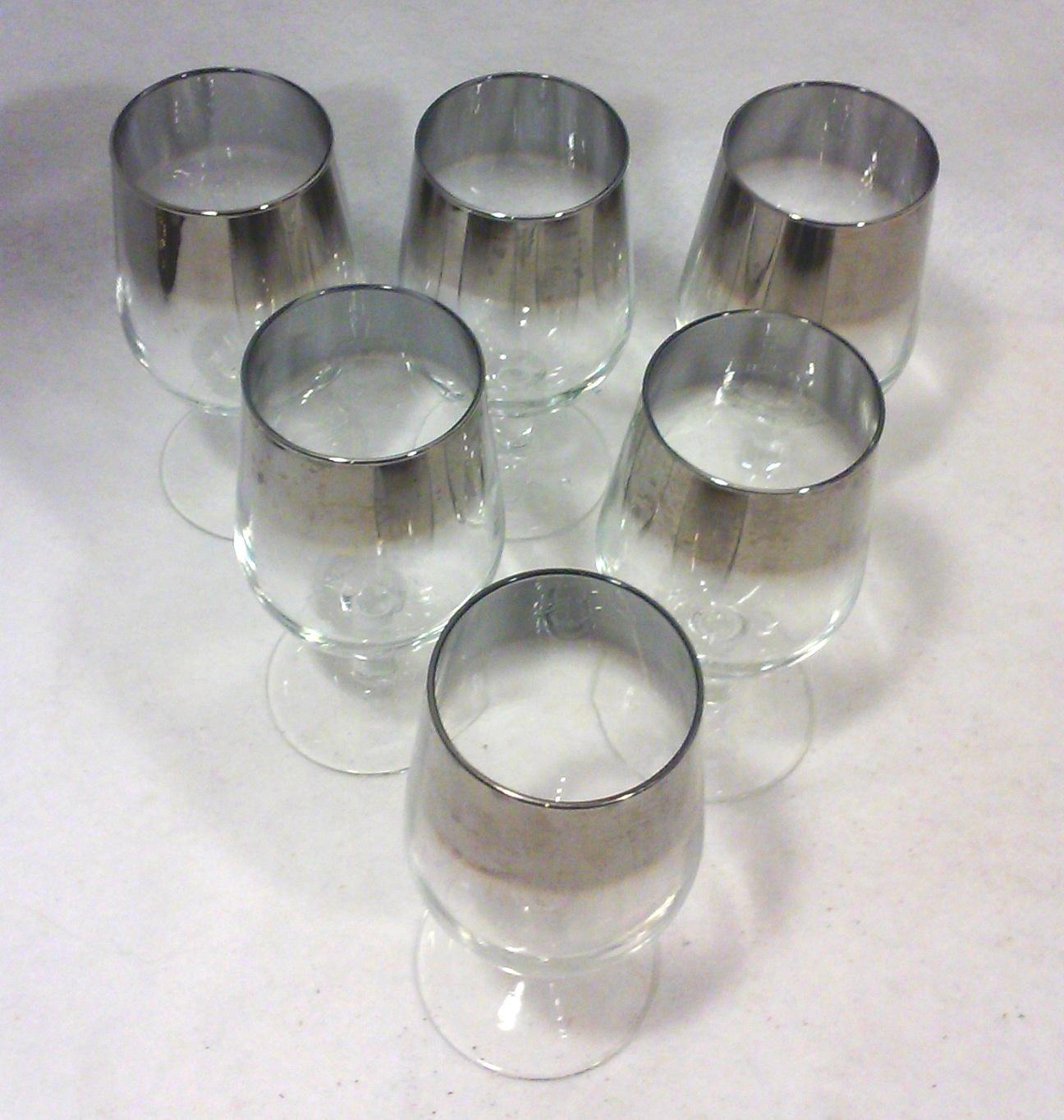 Vintage Mid Century Silver Mercury Ombre Wine Glasses-Set of Six