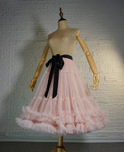 Blush Pink Layered Midi Tulle Skirt Outfit Ballerina Skirt A-Line Puffy Tutus image 2