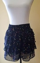 American Eagle Skirt Tiered Navy Blue Floral Chiffon Short Mini Skirt Si... - $6.79