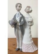 "Vintage Lladro Porcelain Figurine 4808 Wedding Retired 7.5"" Bride Groom Couple - $139.99"
