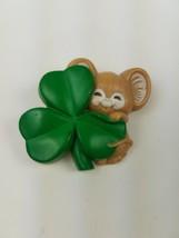Vintage 1985 Hallmark St Patrick's Day Pin Mouse Hugging Holding Shamrock - $9.85