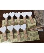 120pcs White Heart Wooden Clips,wooden pegs,Wedding Party Favor Decoration - $9.80
