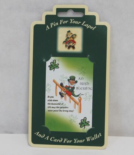 Allied  Irish Souvenirs Blessing Wallet Card Lapel Leprechaun Pin