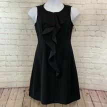 Women's Tahari Black Sleeveless Ruffled A-line Dress Sz 8 NWT - $50.49