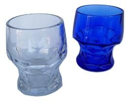 Vintage Pair Blue & Clear Pressed Glass Tumblers  - $12.00