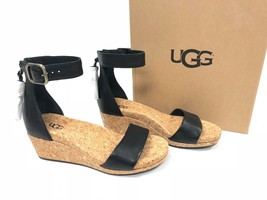 UGG Australia Zoe Tassel Open Toe Wedge Sandal 1019973 Black Women's Shoes - $79.99