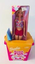 Beach Fun Barbie Doll Play Set Sand Bucket Pail Shovel Pink Bikini 2002 New 4147 - $23.76