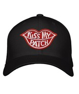 Kiss My Patch Hat - Adjustable Black - Red Lips Funny Cap - $17.77