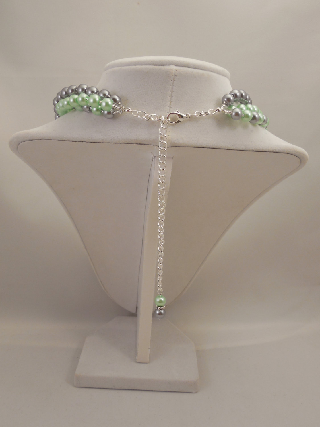 Elegant, Multi Strand Choker Style Necklace with Gray and Mint Green Glass Pearl image 4