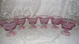 VINTAGE FOSTORIA WITH SEAL JONESTOWN PINK GLASS SHERBET PUDDING GLASSES ... - $64.30
