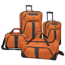 US Traveler Oakton 4pc Orange Light Rolling Luggage Suitcase Duffel Tote... - $98.99