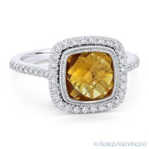 2.68ct Cushion Cut Citrine & Diamond Pave Halo Right-Hand Ring in 14k Wh... - £686.62 GBP
