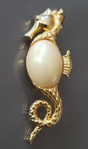 Vintage Estate Gold Tone Seahorse Jelly Belly Faux Pearl Brooch Pin - $6.99