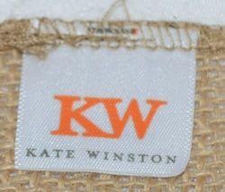 Kate Winslet Brand Brown Burlap Monogram Black White G Garden Flag image 4