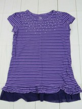 Childrens Place Girls Purple Striped Short Sleeve T-shirt Size M(7-8) W1542 - $4.99