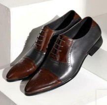 Handmade Men's Black and Brown Two Tone Brogues Dress/Formal Oxford Leather  image 2