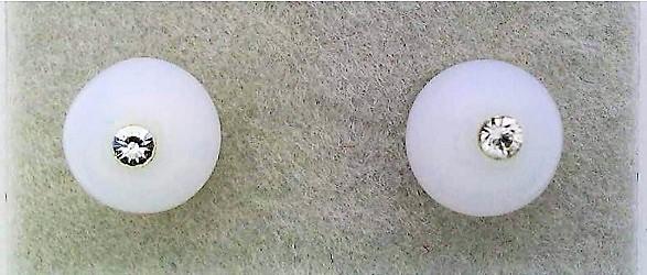 White Opal Glass Crystal 6mm Stud Earrings 2 - $4.99