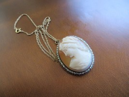 "Art Deco GF. Carved Shell Cameo pendant w/Faux Faux Pearls chain necklace 18"" - $49.99"