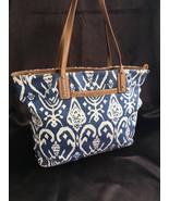 Stella & Dot La Totale (Medium) Navy Blue Ikat Tote Bag, EUC - $44.10