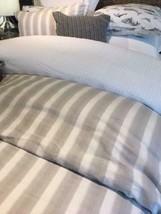 Pottery Barn Jamie Stripe Duvet Cover Flax King Neutral Clio Quilt No Sh... - $158.00