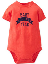 Carter's Baby Boys' Flocked Bodysuit, Red , Size 6 Months - $8.90