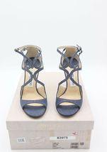 Neu in Box Jimmy Choo Lang Marineblau Fein Glitzer Leder Sandalen Absatz 7 37 image 4