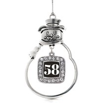 Inspired Silver Number 58 Classic Snowman Holiday Decoration Christmas T... - $14.69