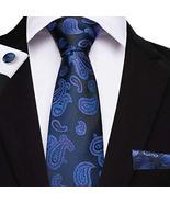 "Classic Extra Long Mens Tie Necktie Hanky Silk N-7509 (8.5""x160"") Blue C... - $17.82"