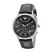 Emporio Armani AR2447 Stainless Steel Black Dial Black Leather Strap Watch - $149.99