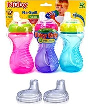 Nuby No Spill Easy Grip 10 Oz Sippy Cups 3 Pack Pink, Purple & Blue Plus... - $24.57