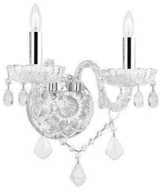 Murano Venetian Style Crystal Wall Sconce Lighting! with Chrome Sleeves! - $75.75